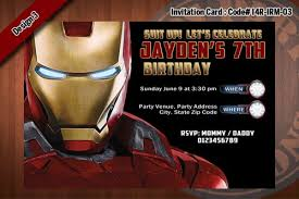 personalized iron man printable birthday party invitation for iron