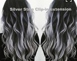 dark hair with grey streaks grey hair extension etsy