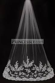 bridal veil cathedral length lace appliques wedding veil