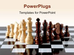 powerpoint template 3d glowing chess pieces on chess table glossy