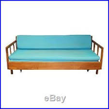 mid century modern daybed sofa vintage cloth wood couch danish