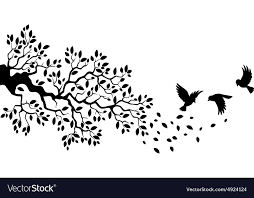 tree silhouette with birds flying royalty free vector image