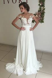 v neck cap sleeves sweep ivory wedding dress with appliques - White Dresses For Wedding