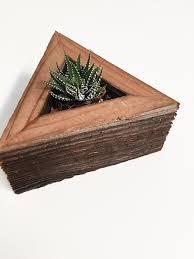 reclaimed wood triangle planter box