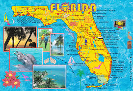 Panama City Beach Florida Map by Illustrated Tourist Map Of Florida Jpg
