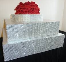 rhinestone cake 18 or 20 wedding cake stand square silver bling
