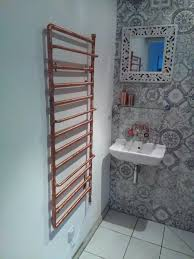 Small Heated Towel Rails For Bathrooms Ideal Home Magazine March Issue Bespoke Copper Pipe Towel Rail