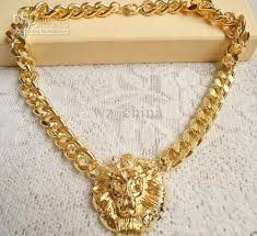 chunky gold necklace fashion images Fashion new chunky unique gold plating link animal jewelry lion jpg