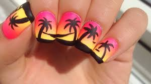easy neon gradient and palm tree nail art youtube