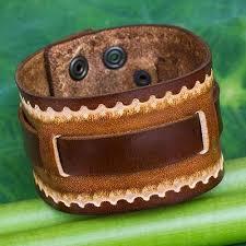 leather hand bracelet images Hand tooled brown leather bracelet for men western quest novica jpg