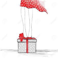 Sketch Birthday Card Girl With Gift Box Happy Birthday Card Sketch Vector