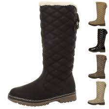 womens winter boots uk womens flat high calf knee quilted fur lined winter