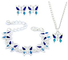 necklace gift sets images Kids children blue butterfly stud earrings bracelet necklace jpg