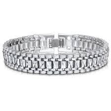 bracelet chain link styles images Mens bracelet punk rock style black silver gold color big wide jpg