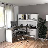 L Shaped Desk White Bestar Pro Linea Officepro 120000 L Shaped Desk White Bark Gray