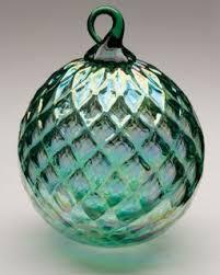 mt st helens volcanic ash blown glass ornament green