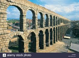castilla y leon spain segovia the roman aqueduct stock photo