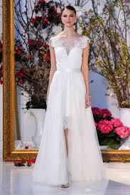 cocktail length summer wedding dresses 2017 detachable tulle