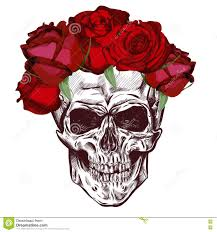 skull and roses sketch with gradation effect vector stock vector