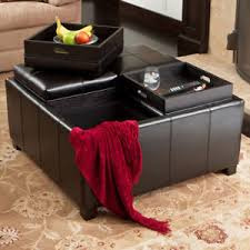 elegant 4 tray top black leather storage ottoman coffee table ebay