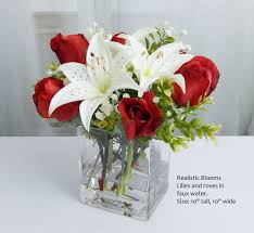 Tall Glass Vase Flower Arrangement Red White Silk Rose Roses Lily Lilies Glass Vase Faux Water