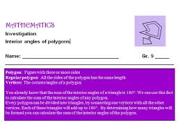 Interior Angles Of Polygon Gr 9 Math Interior Angles Of Polygons One Stop Math Shop