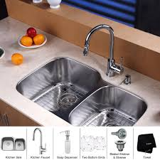 stainless steel kitchen sink combination kraususa com discontinued kraus 32 inch undermount double bowl stainless steel kitchen sink with kitchen faucet and