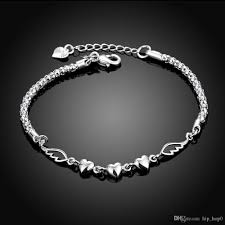 link bracelet charms images Angel wings and heart charms bracelet sterling silver plated jpg