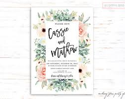 Succulent Wedding Invitations Floral Succulent Wedding Invitation Succulent And Roses