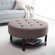 round tufted coffee table beige round tufted fabric ottoman coffee table with storage shelf