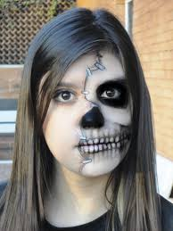 happy halloween day 15 half face halloween makeup ideas skull