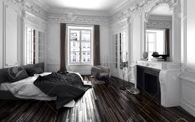 classic black and white bedroom interior decor with a double