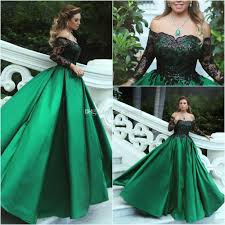 evening gown green black gown evening dresses shoulder sleeves