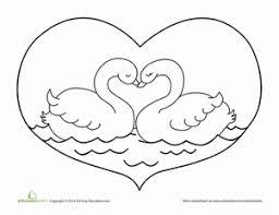 valentine u0027s day swan worksheet education com