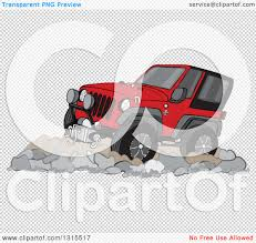 jeep transparent background clipart of a cartoon red jeep wrangler suv on rocks royalty free