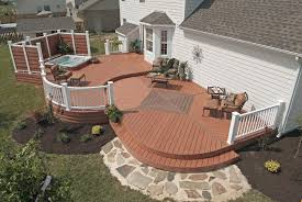 Deck With Patio by Backyard Home Deck With Spa Feature And Some Furniture For