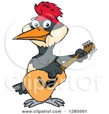 clipart cartoon happy woodpecker playing electric guitar