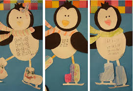 penguin math craft practicing fact families in grade