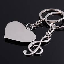 best key rings images Love heart music notes detachable couple keychain best key ring jpg