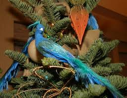 tree decorations birds lights card and decore