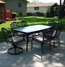 martha stewart living patio glass table u0026 six chairs ebth