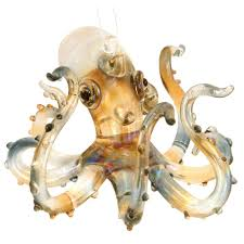 spun glass amber octopus ornament spin ornament and coastal