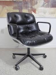mid century charles pollock knoll leather swivel office chair ebay