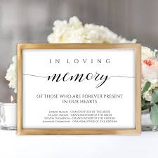 in loving memory wedding sign this product is an editable and printable in loving memory wedding