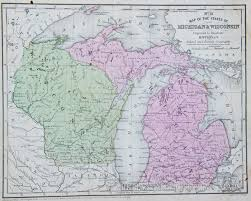 Map Of Michigan And Canada by Map Of Wisconsin And Michigan 1854