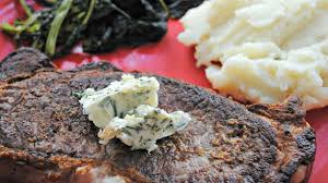 rachael ray roasted broccoli strip steaks with rosemary garlic butter taleggio mashed potatoes