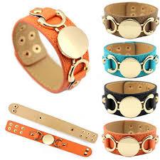 monogrammed bangle bracelet manufacturer wholesale disc leather cuff bangle bracelets for