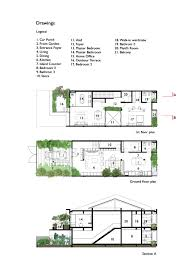 trees and shrubs create faux courtyard inside house first floor and ground floor plans