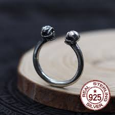 sted rings 925 sterling silver men s rings skull opening ring individual