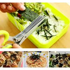 popular kitchen cutting knife buy cheap kitchen cutting knife lots steel 5 layers blade herb scissors multifunctional kitchen knives sushi shredded scallion cut herb spices scissors